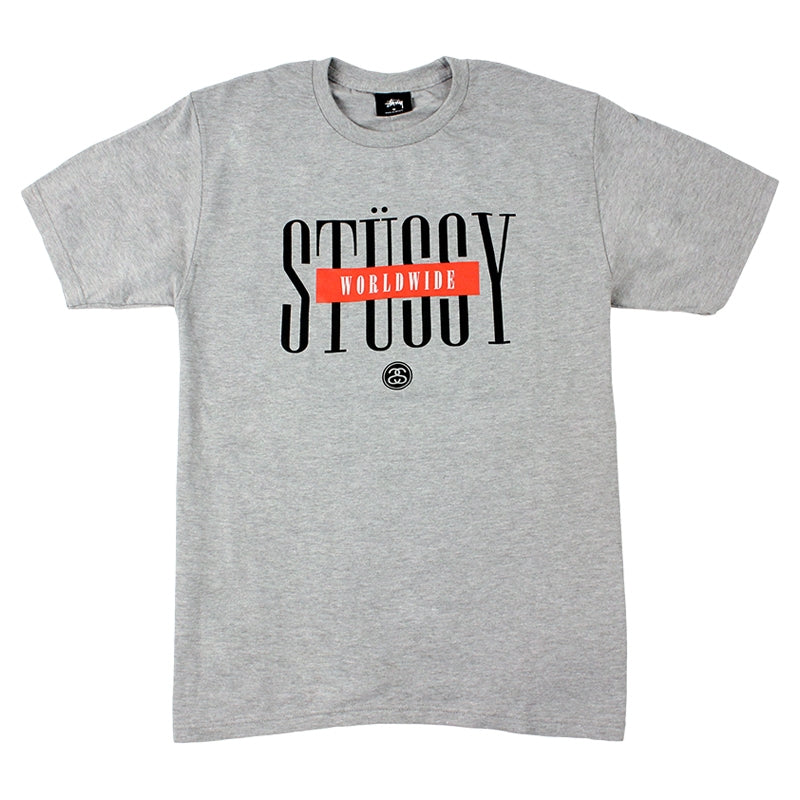 Stussy Worldwide T Shirt in Heather Grey