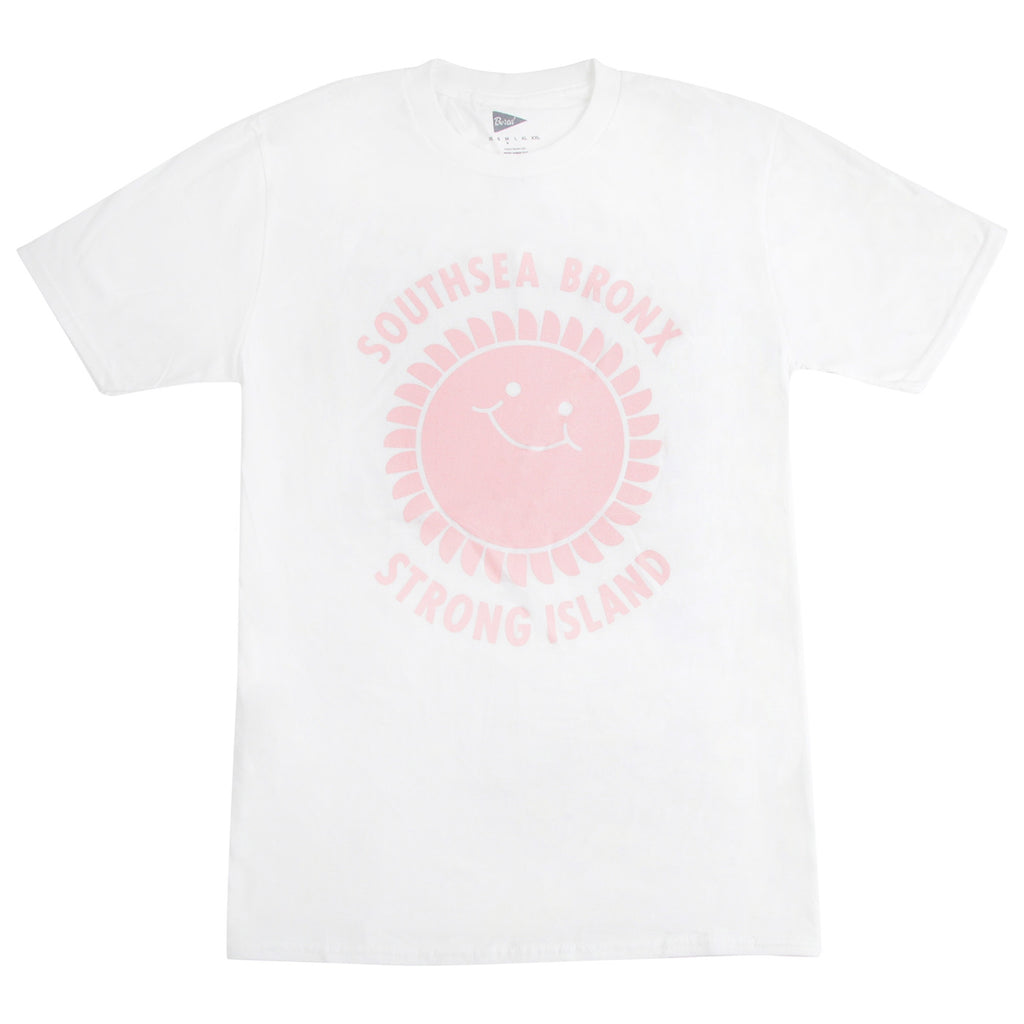 Southsea Bronx Strong Island T Shirt in White / Pastel Pink