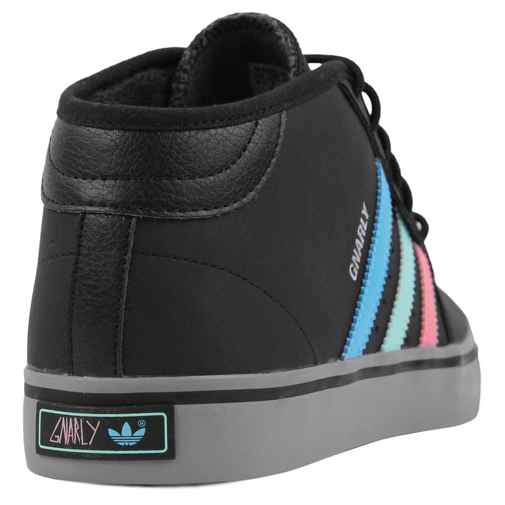 Adidas Skateboarding x Gnarly Seeley Mid Shoes in Core Black / Light Aqua - Heel