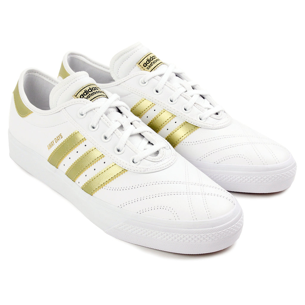 "Adidas Skateboarding Adi Ease Premiere ""Away Days"" Shoes - White / Gold Metallic / Gum - Pair"