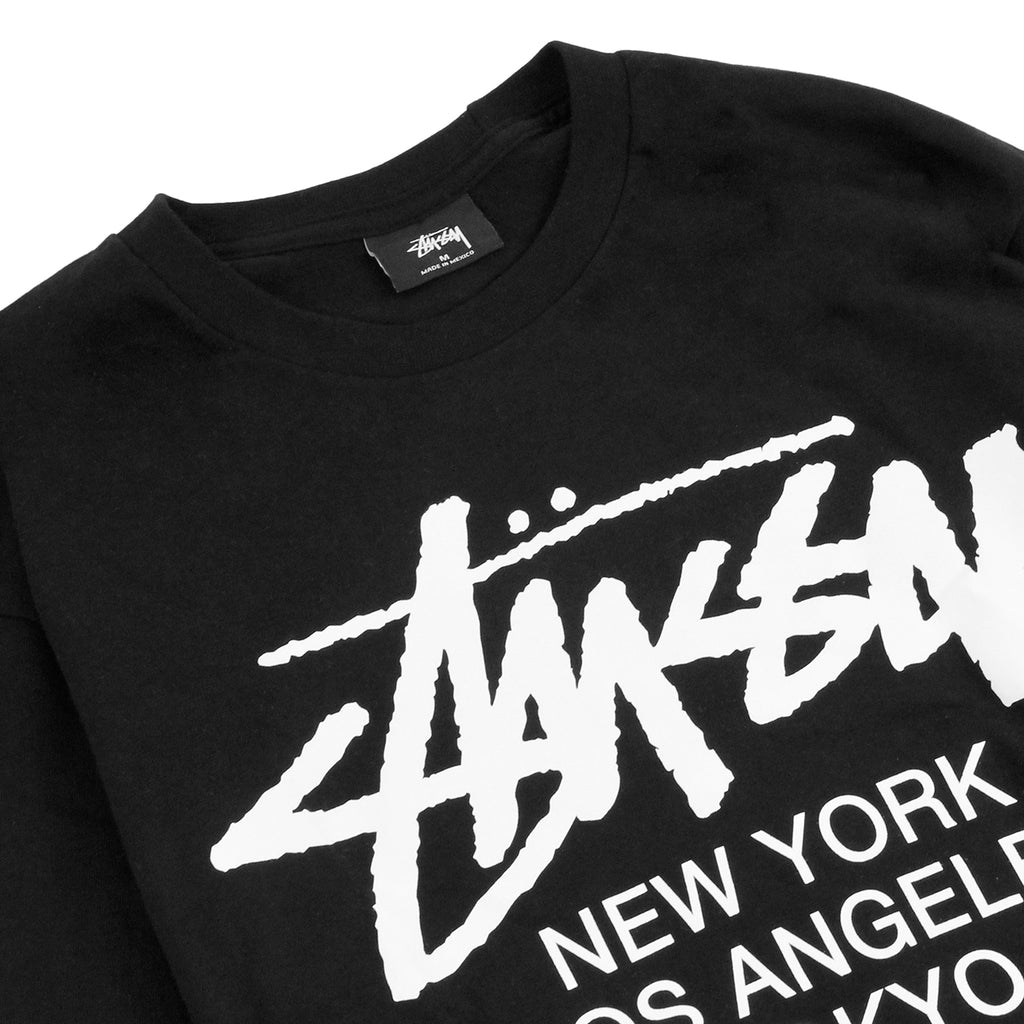 Stussy World Tour L/S T Shirt in Black - Detail