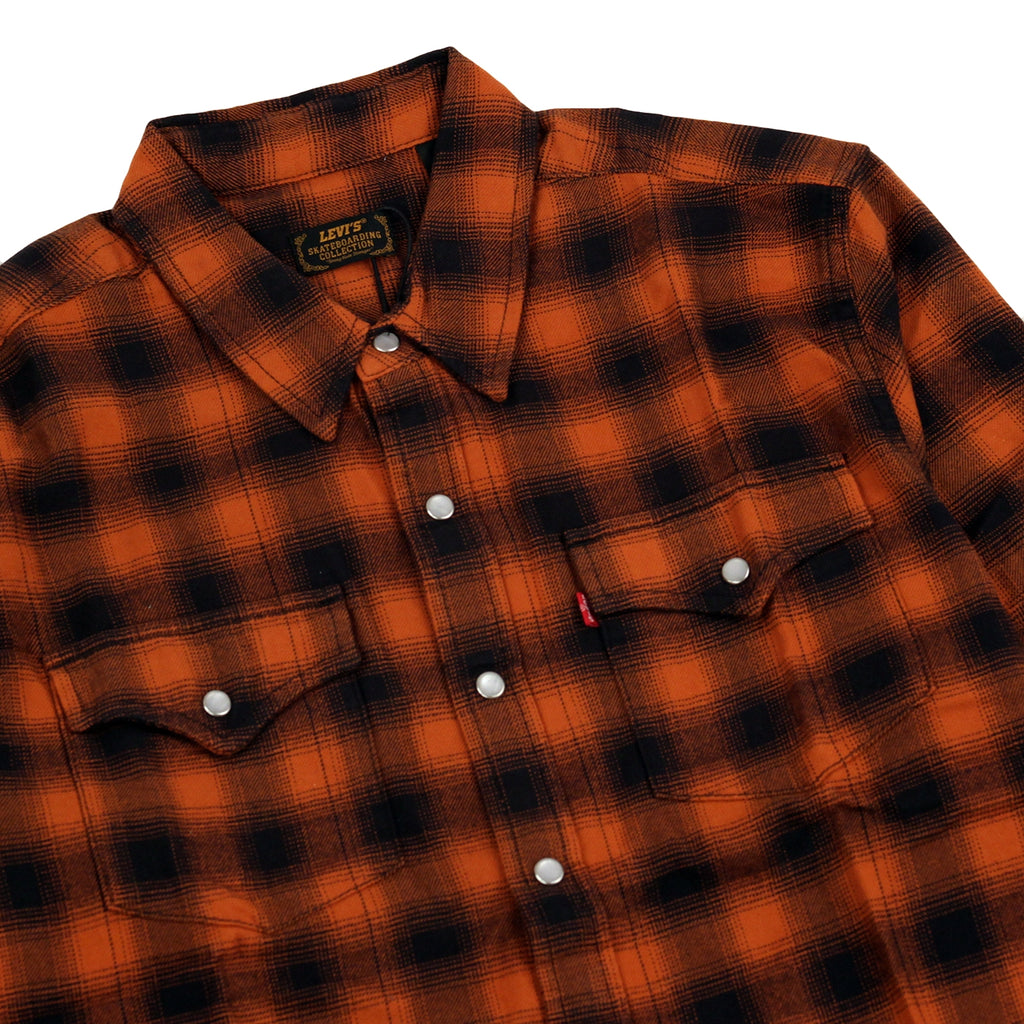Levis Skateboarding Skate Western Shirt in Nilgai Bombay Brown - Detail