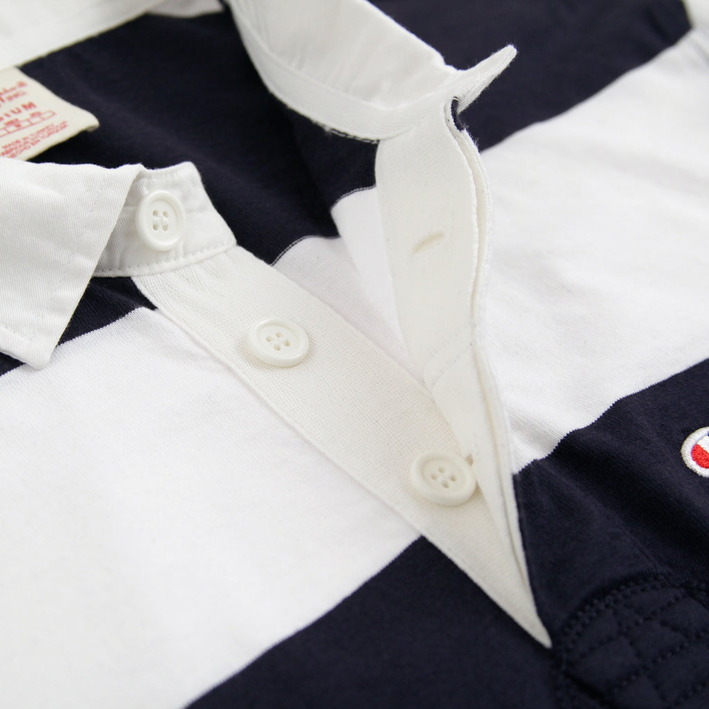 Champion Reverse Weave L/S Polo Shirt in Navy / White - Placket