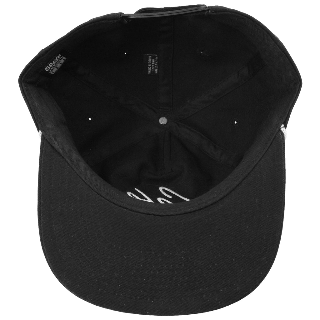 Skateboard Cafe Script Lace Snapback Cap in Black / White - Inside