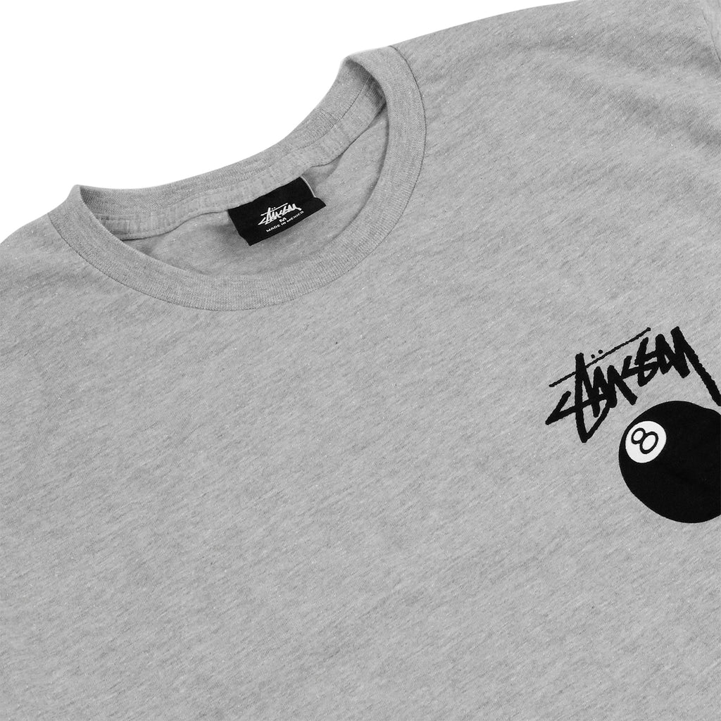 Stussy 8 Ball T Shirt in Grey Heather - Detail