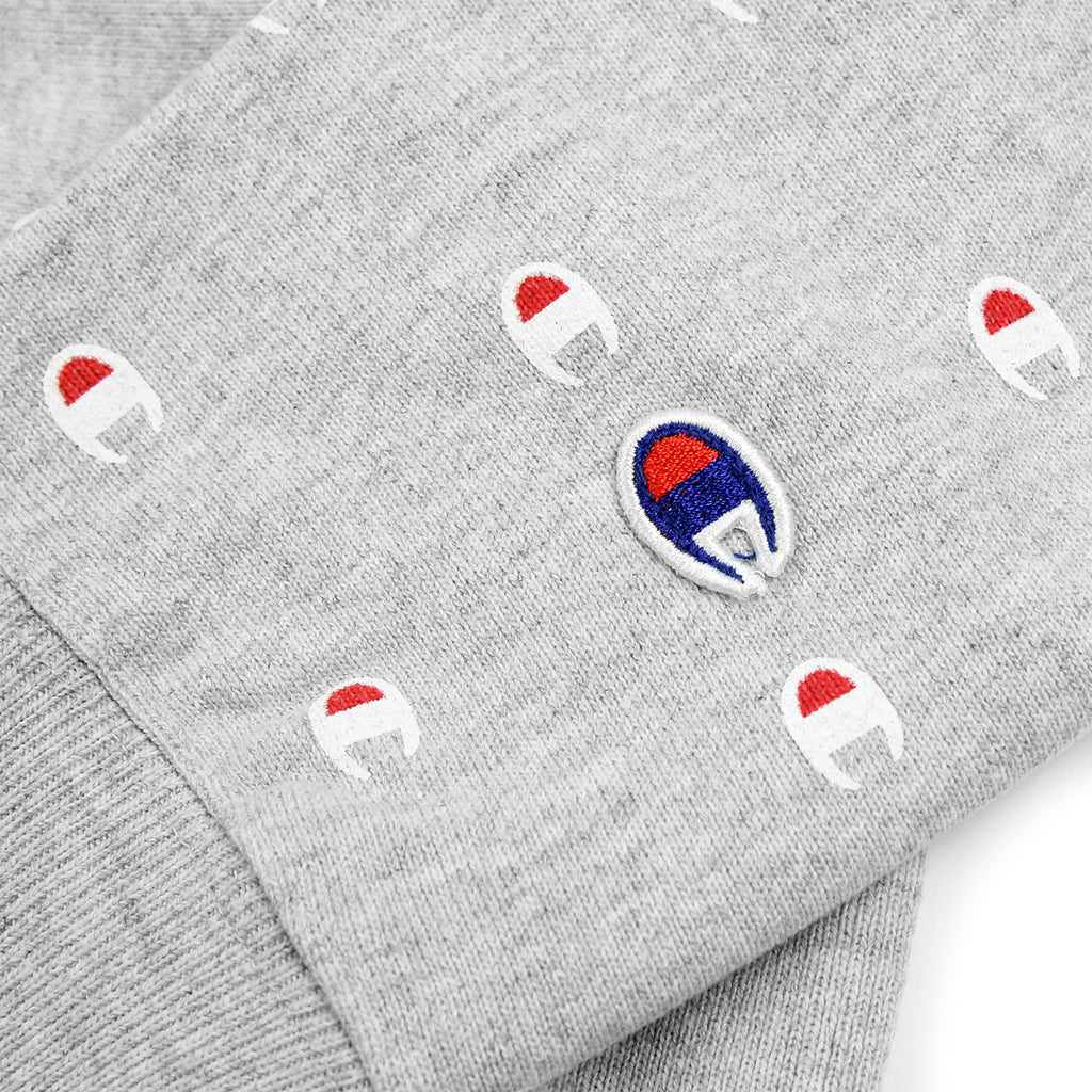 Champion All Over Crew Sweatshirt in Oxford Grey - Cuff Logo