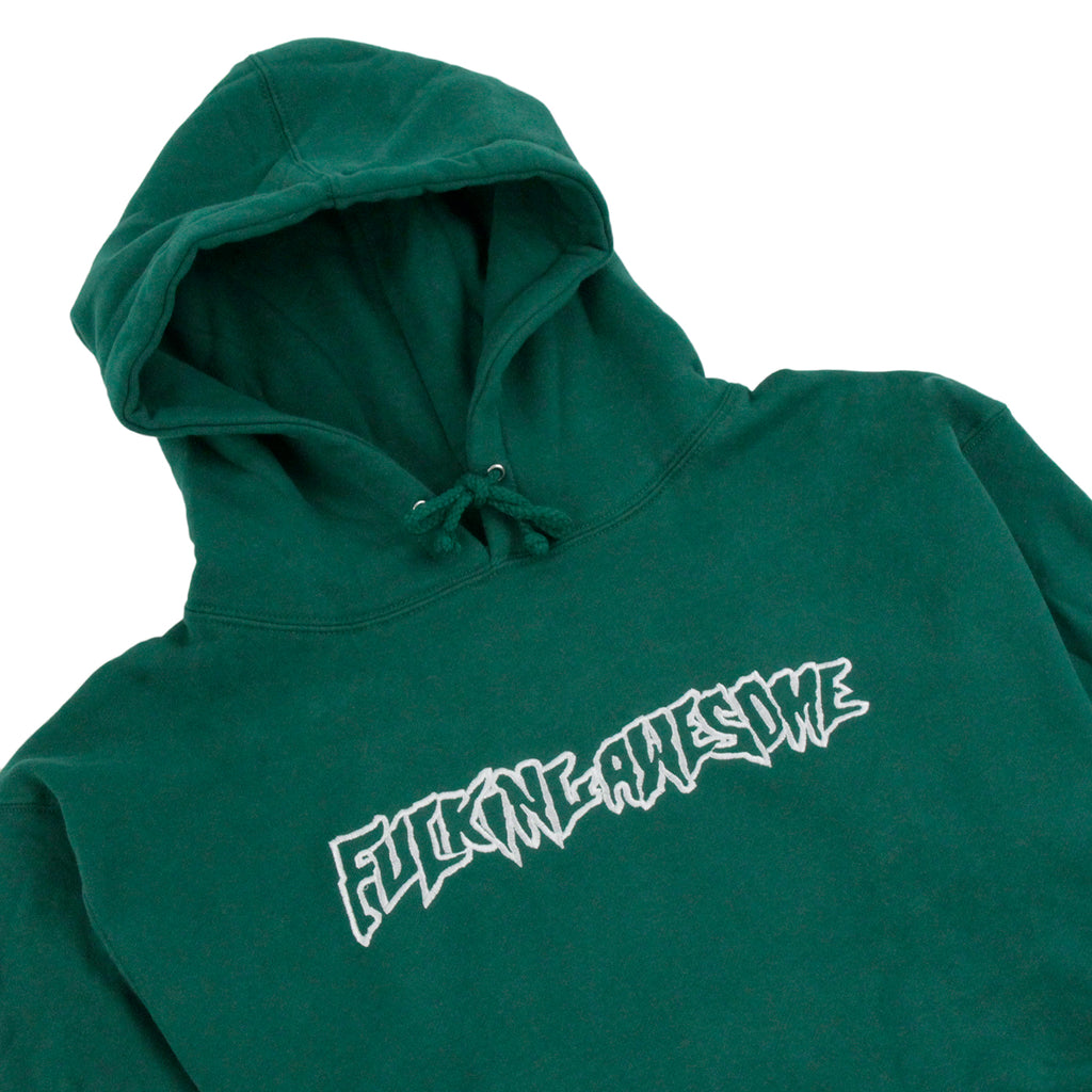 Fucking Awesome Embroidered Logo Hoodie in Green - Detail