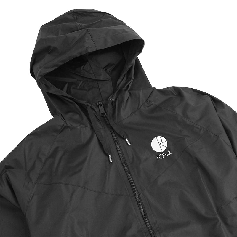 Polar Skate Co Fill Logo Chest Windbreaker Jacket in Black / White - Detail