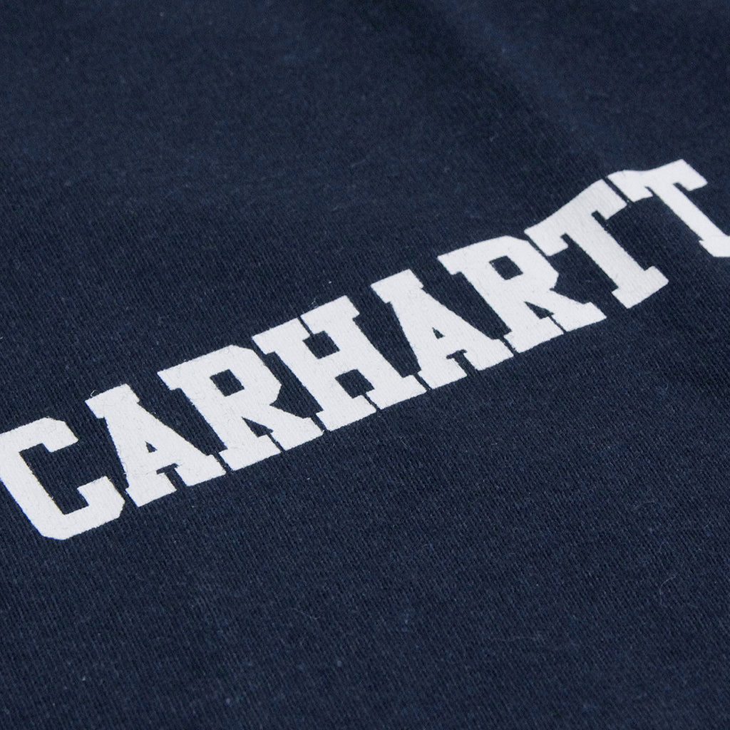 Carhartt S/S College Script T Shirt in Navy / White - Print