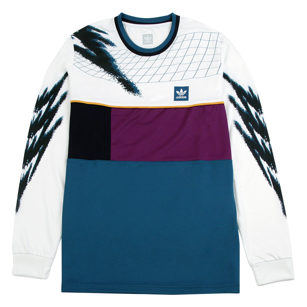 Adidas Skateboarding Tennis Jersey in White / Tribe Purple / Real Teal