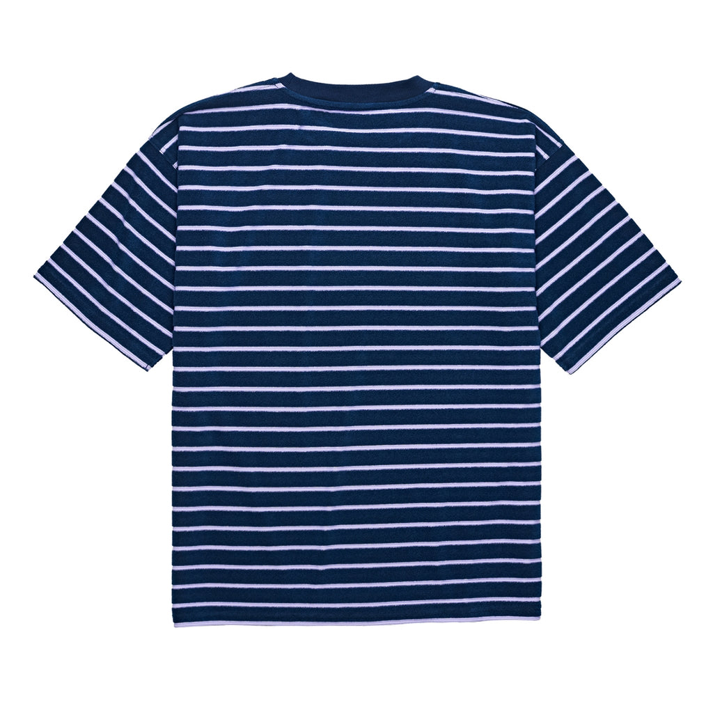 Polar Skate Co Striped Terry Surf T Shirt in Navy / Violet - Back
