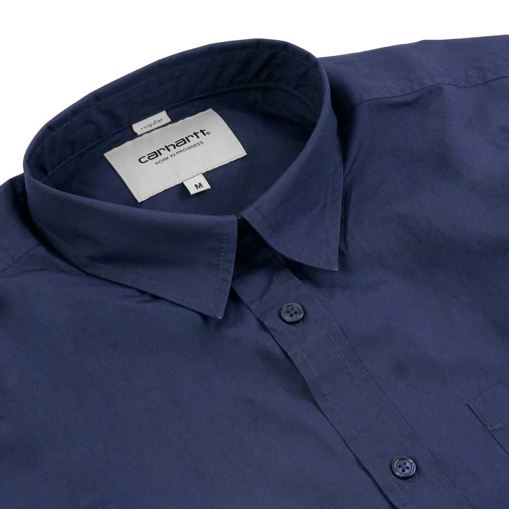 Carhartt L/S Wesley Shirt in Blue - Detail
