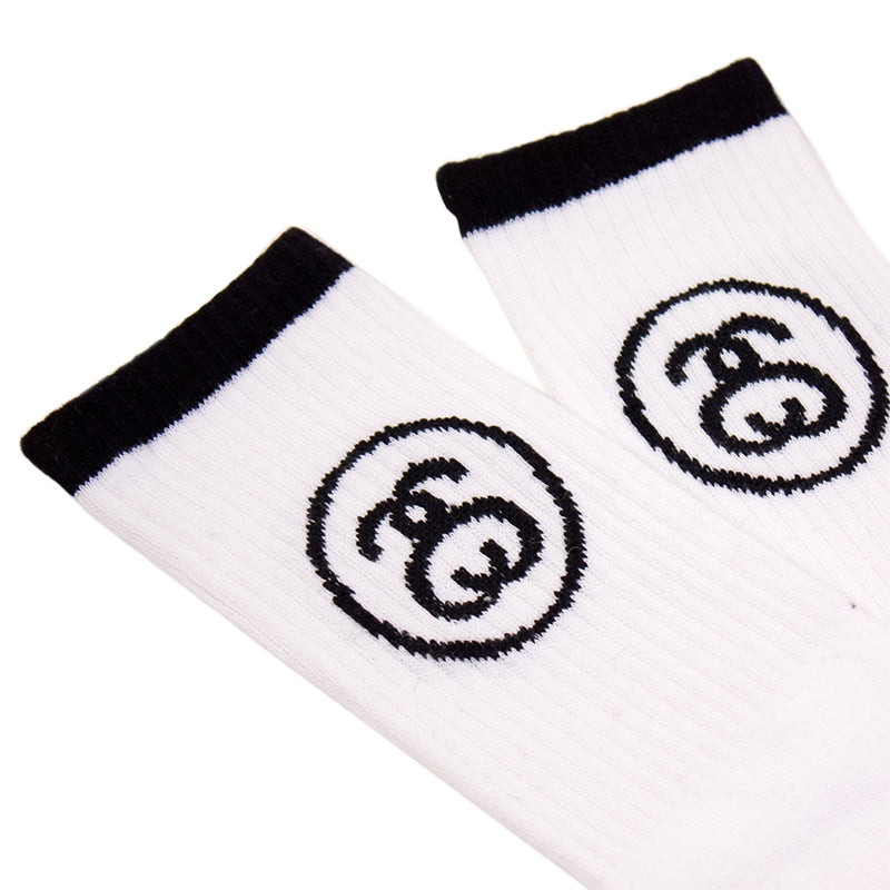 Stussy SS Link Socks in White - Detail