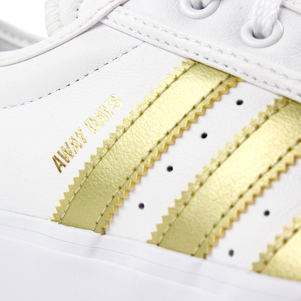 "Adidas Skateboarding Adi Ease Premiere ""Away Days"" Shoes - White / Gold Metallic / Gum - Stripe"