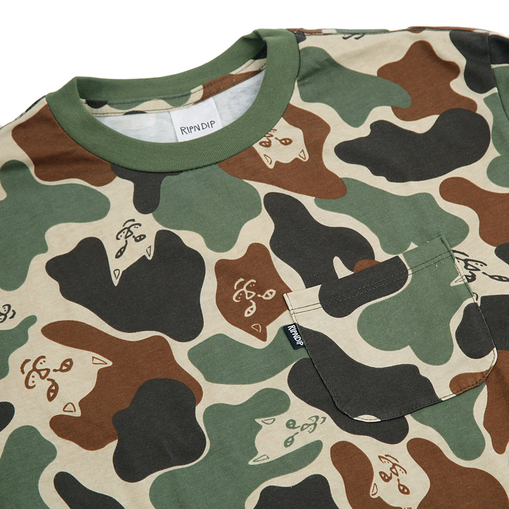 RIPNDIP L/S Lord Nermal T Shirt in Army Camo - Detail