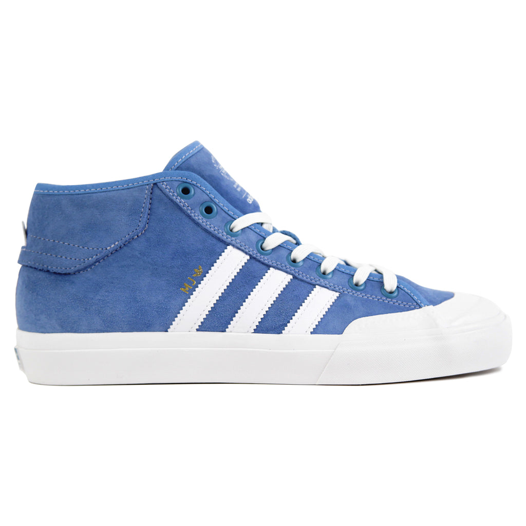 Adidas Skateboarding x Marc Johnson Matchcourt Mid Shoes in Light Blue / Neo White / Gold Metallic