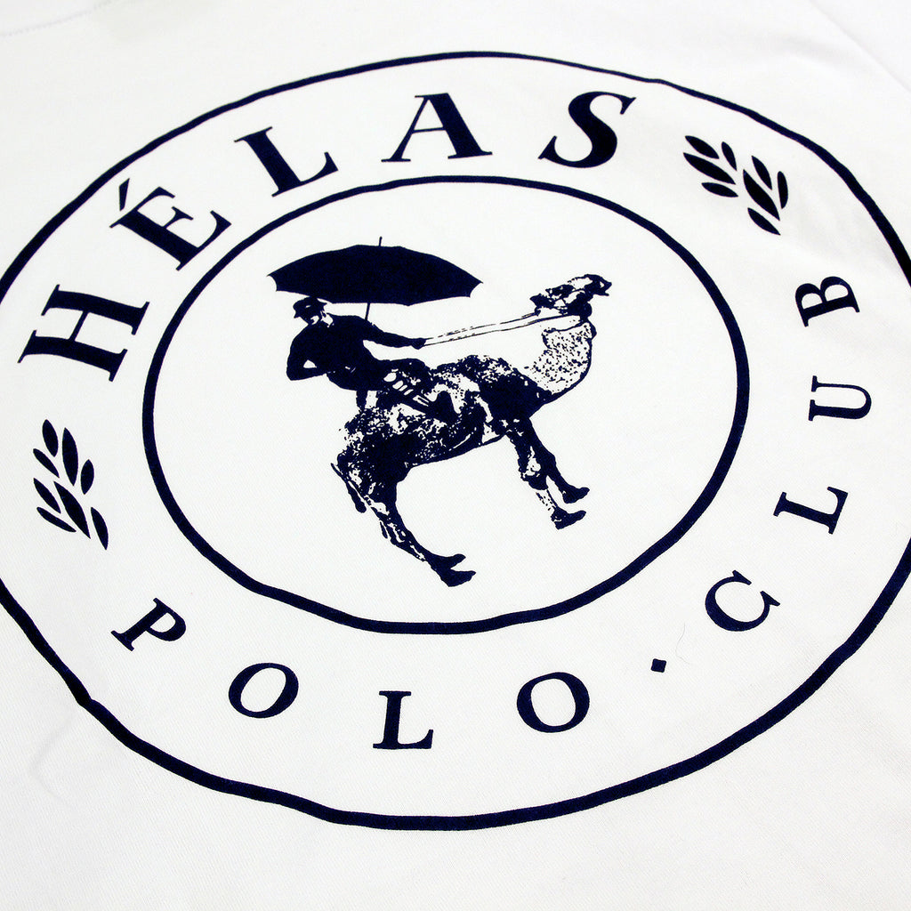 Helas Polo Club L/S T Shirt in White - Print