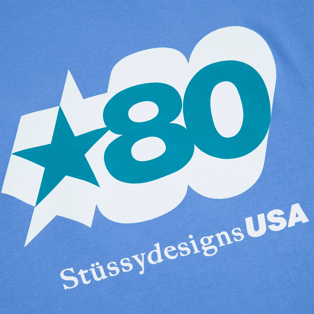 Stussy 80 Star T Shirt in Blue - Print