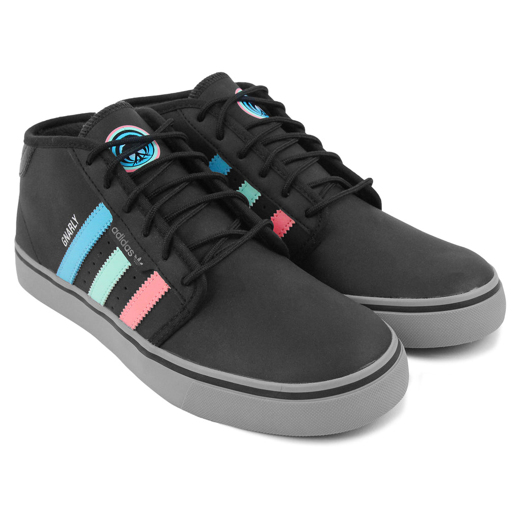 Adidas Skateboarding x Gnarly Seeley Mid Shoes in Core Black / Light Aqua - Pair
