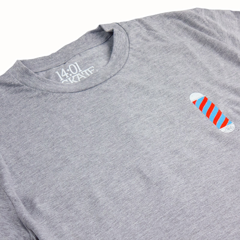 14:01 Skateboard Co The Barber T Shirt in Heather Grey - Detail