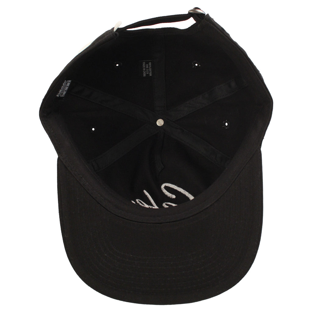 Skateboard Cafe Diner Script Deconstructed 5 Panel Cap in Black - Underneath