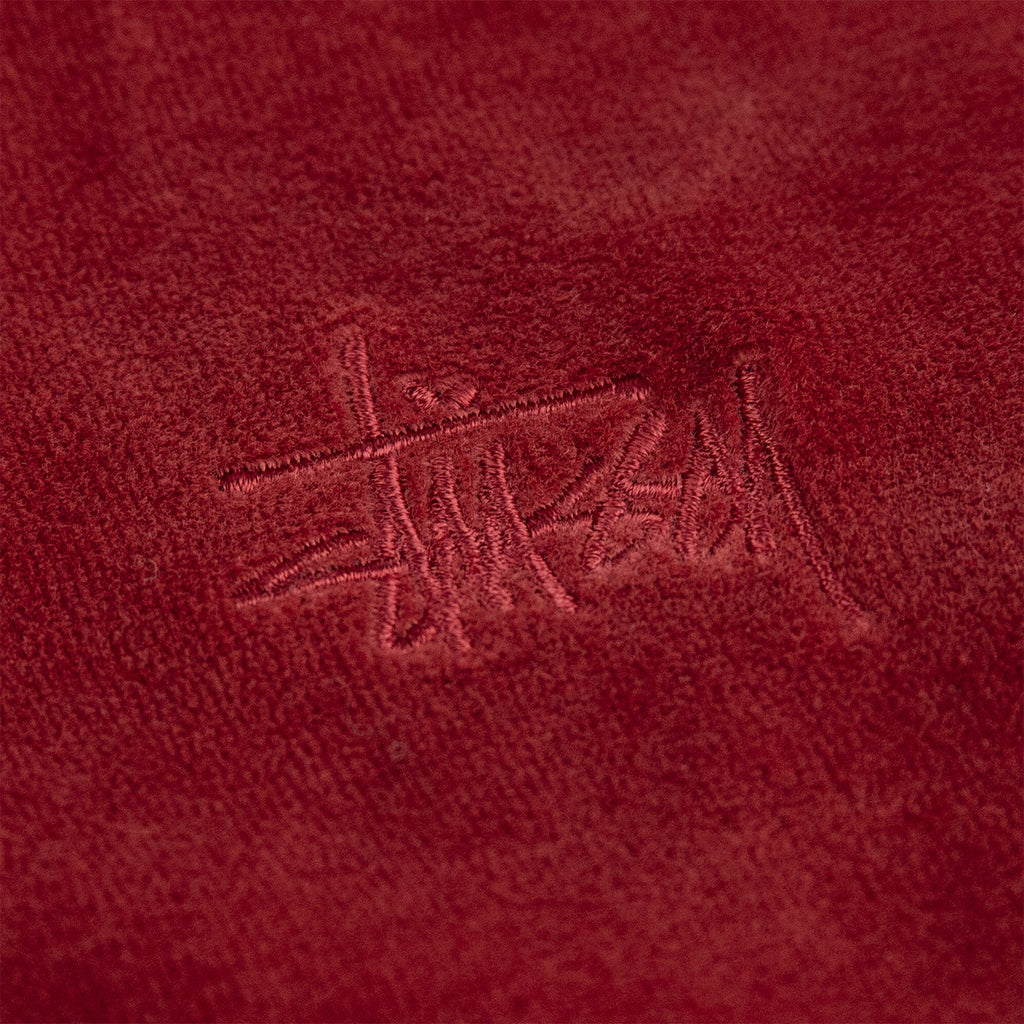 Stussy Velour L/S Zip Mock in Maroon - Embroidery
