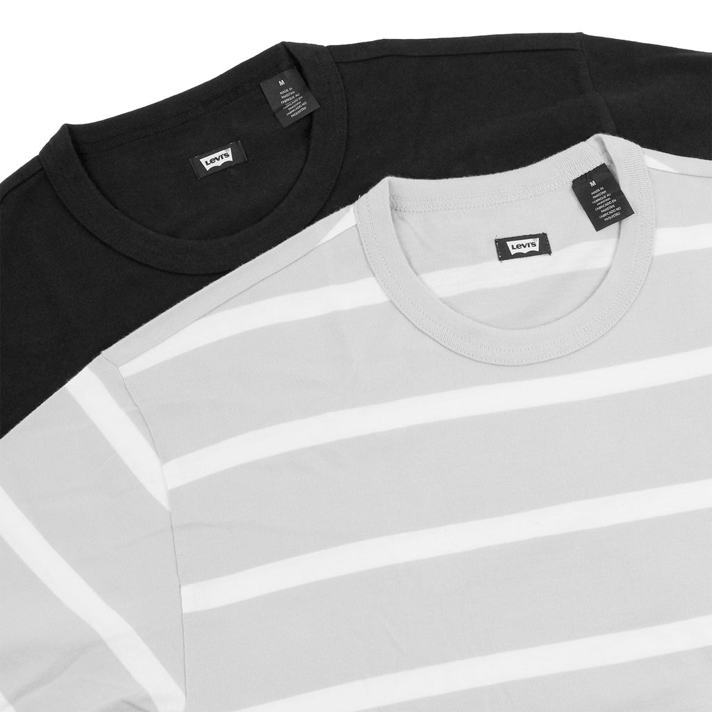 Levi's Skateboarding Collection 2 Pack T Shirt in Black / Glacier Grey Stripe - Double