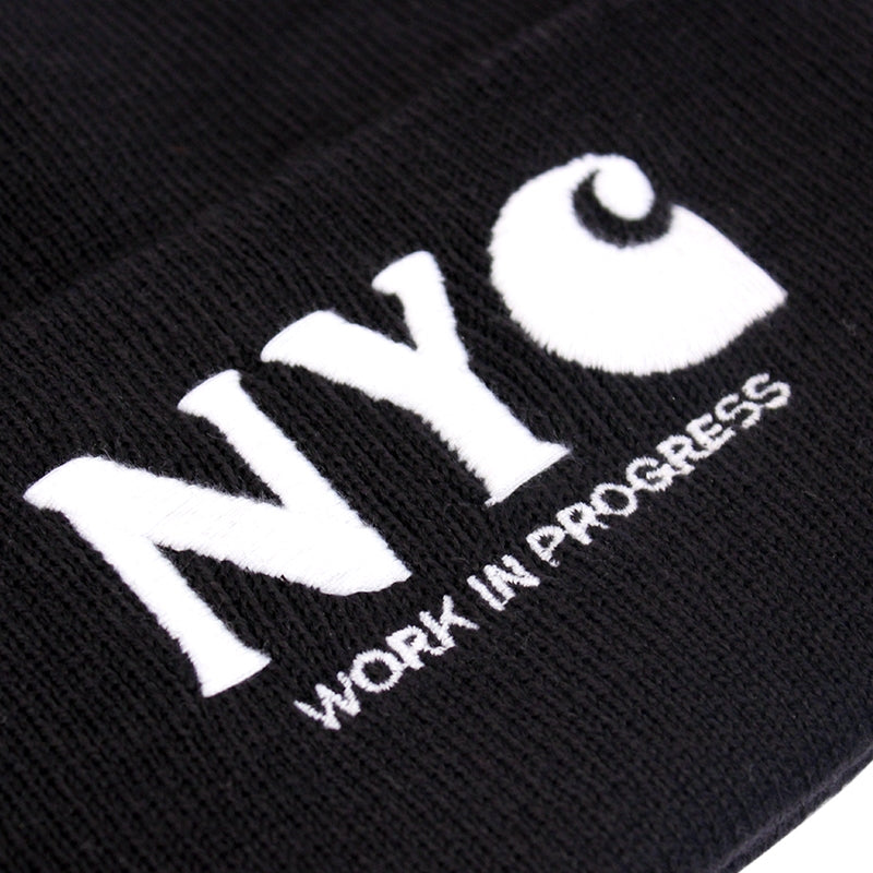 Carhartt NYC Beanie in Black - Embroidery detail