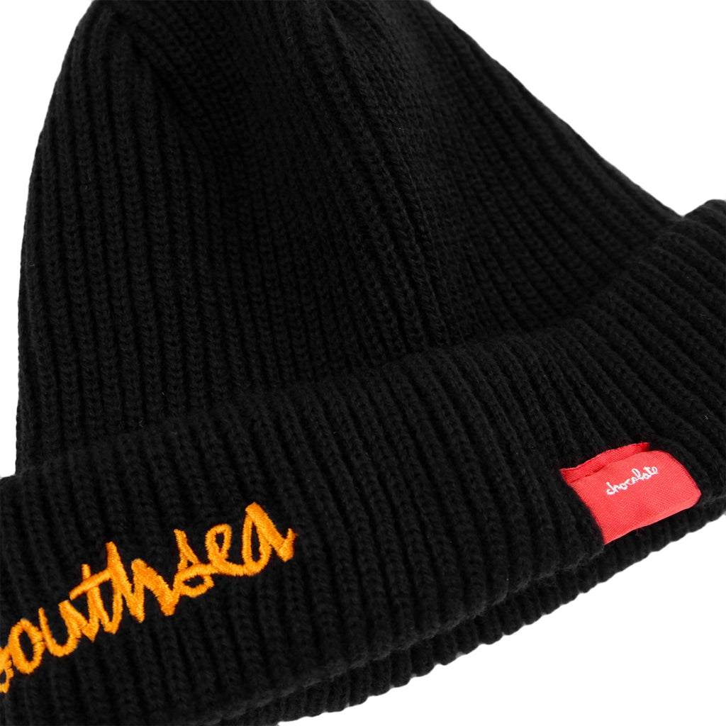 Bored of Southsea x Chocolate Skateboards Chunk The World Beanie in Black - Detail 2
