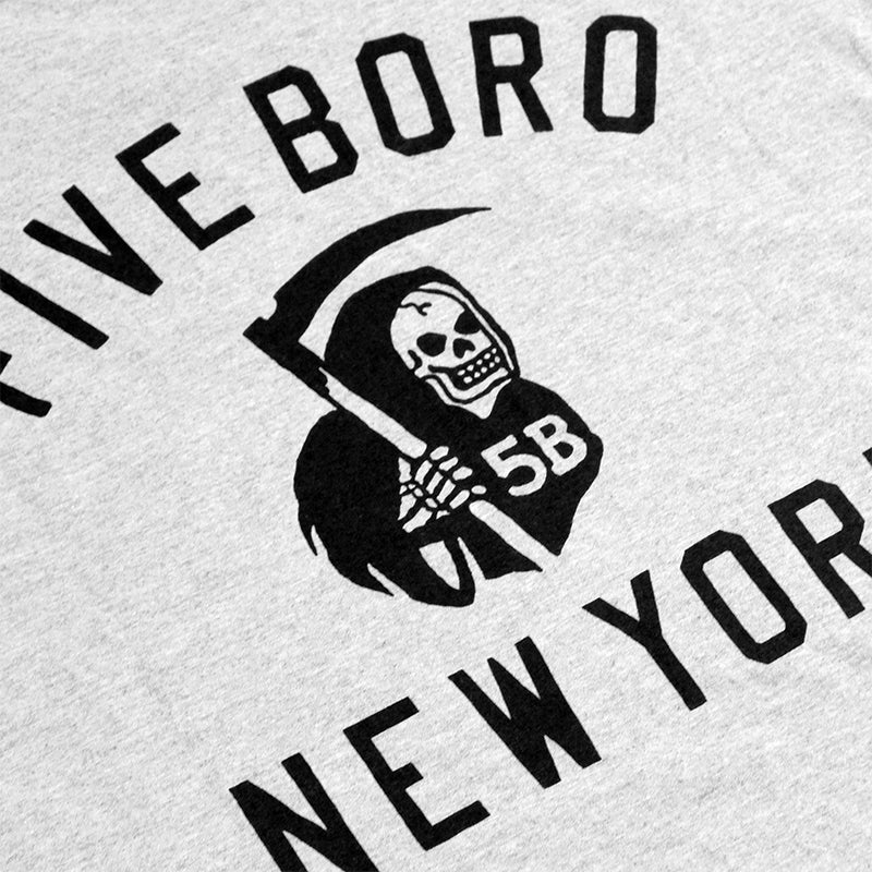 5BORO 5B REAPER II T SHIRT GREY HEATHER - Print