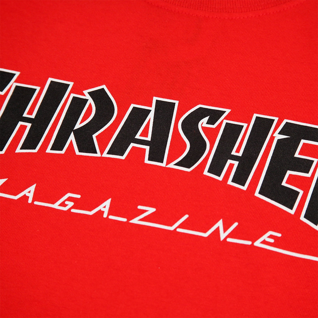 Thrasher Outlined T Shirt in Red - Print
