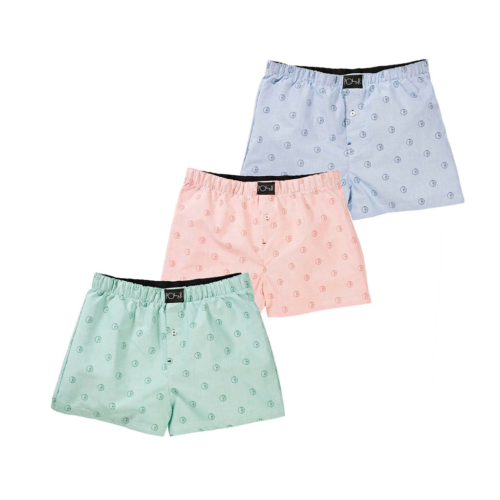 Polar Skate Co 3 Pack Boxer Shorts in Blue / Peach / Mint - All 3