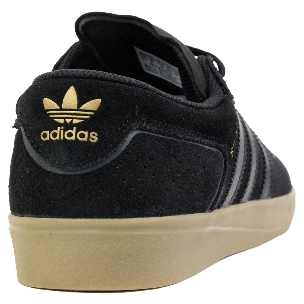 Adidas Skateboarding Silas Vulc ADV Shoes in Core Black/Core Black/Gold MT - Heel