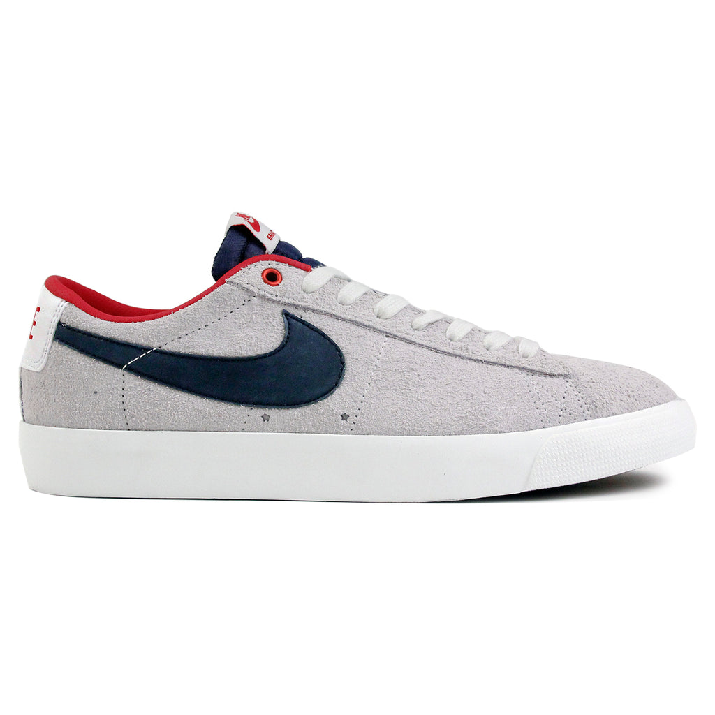 Nike SB Blazer Low Grant Taylor Shoes - Summit White / Obsidian in University Red