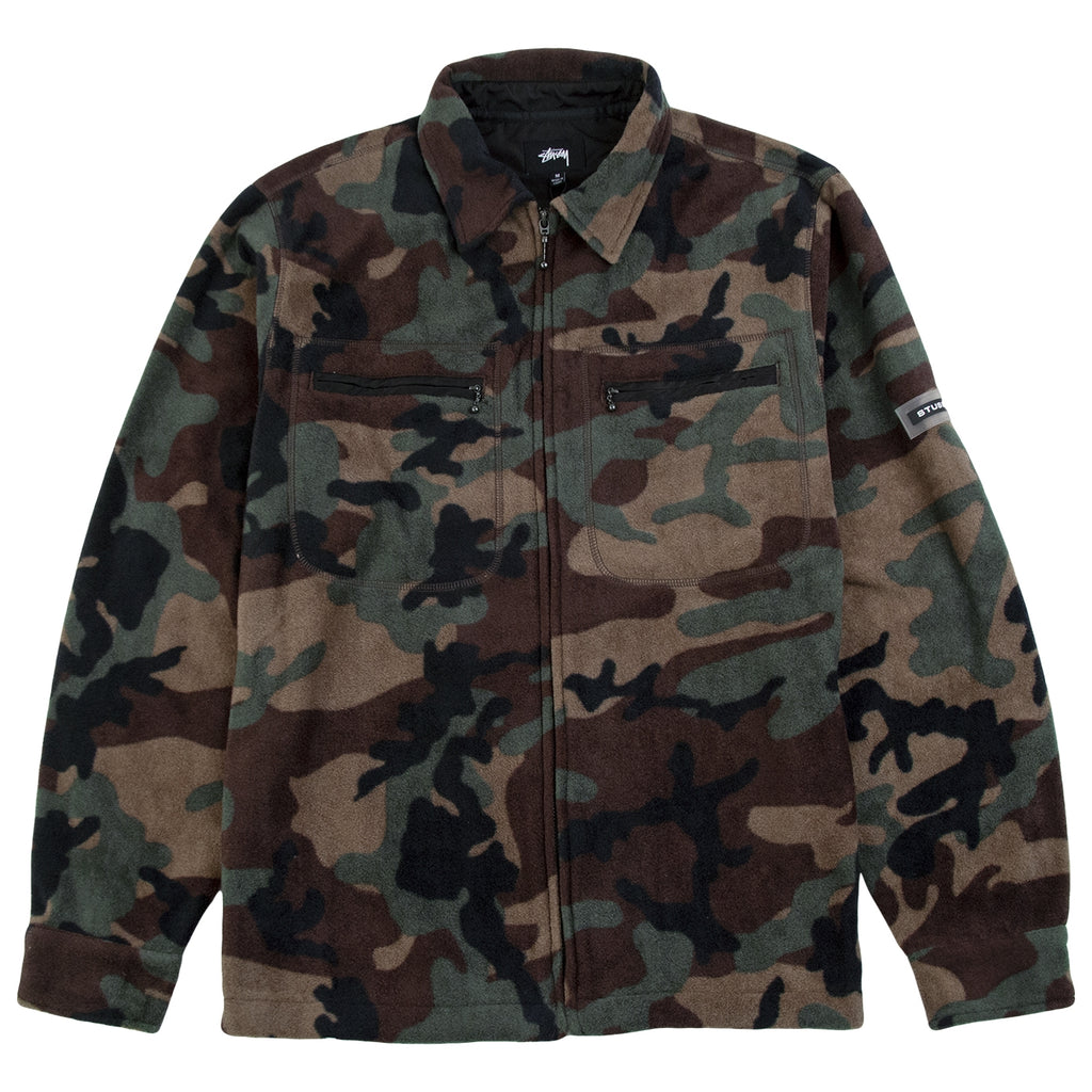 Stussy Polar Fleece Full Zip in Camo