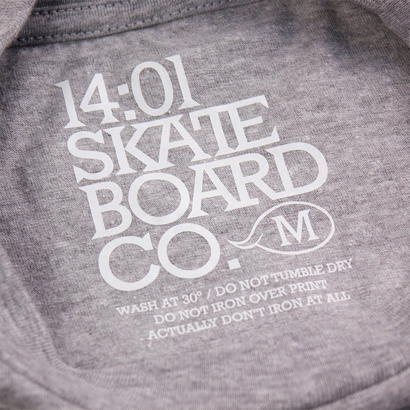 14:01 Skateboard Co The Barber T Shirt in Heather Grey - Nape print
