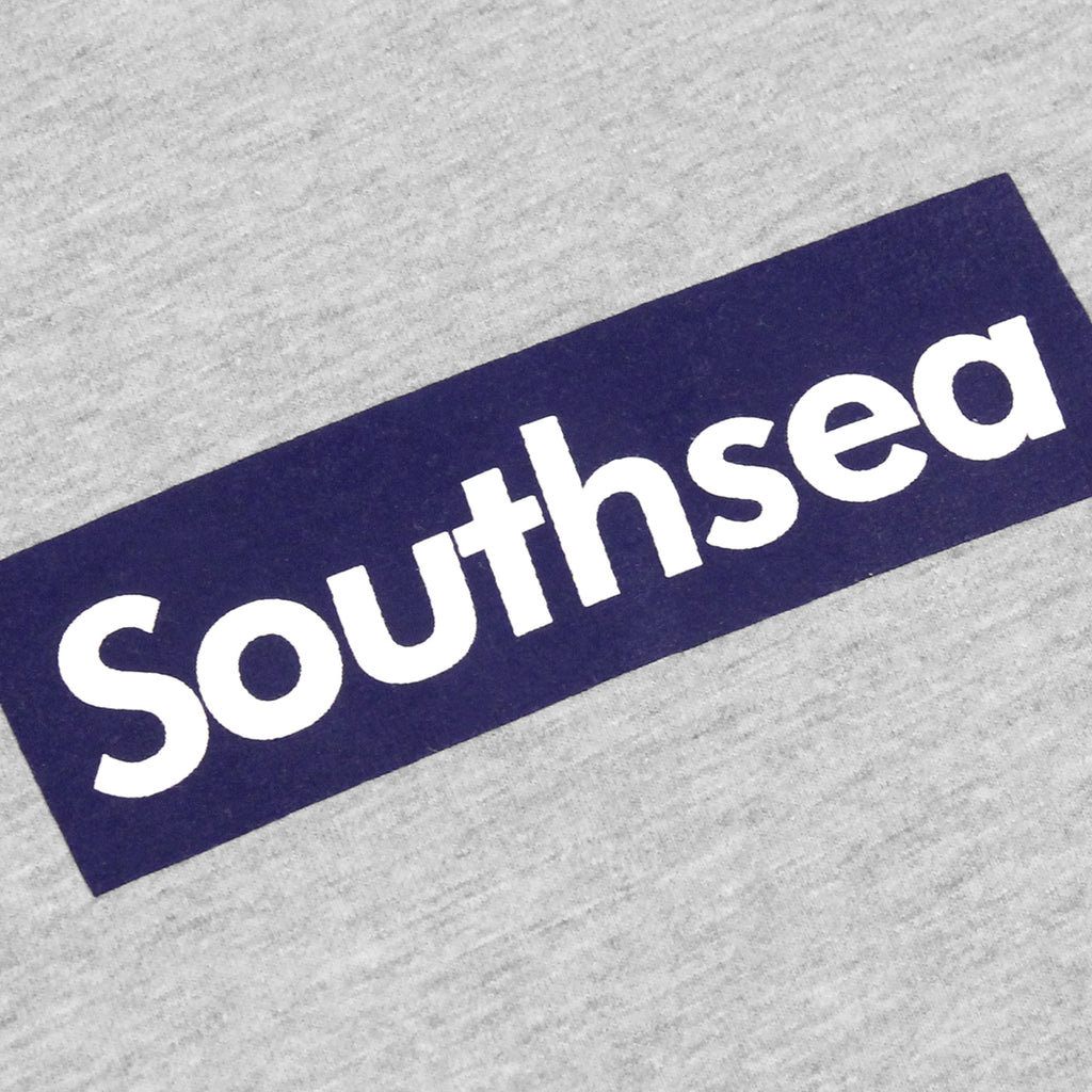 "Bored of Southsea ""Southsea"" Long Sleeve T Shirt in Heather Grey / Blue Box - Print"