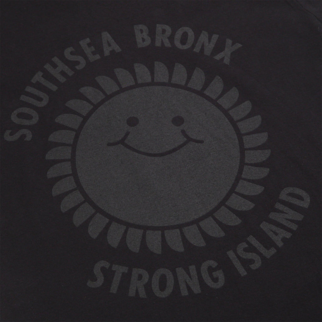 Southsea Bronx Strong Island T Shirt in Black on Black - Print
