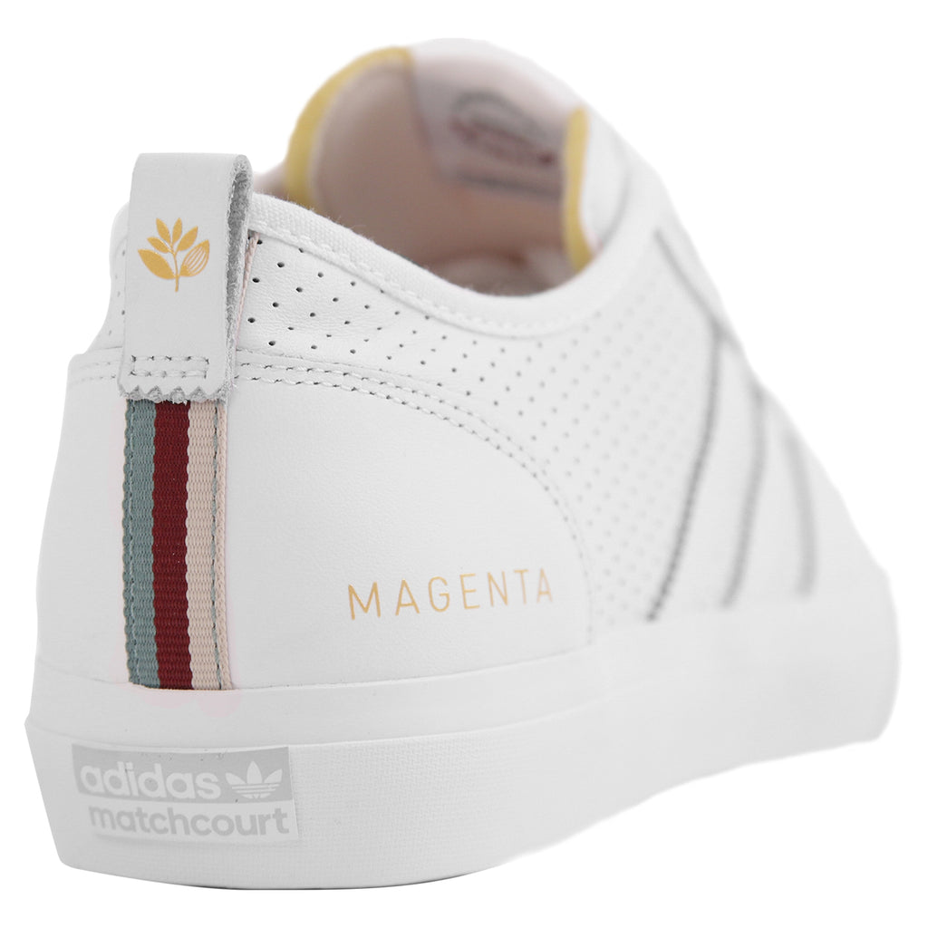 Adidas x Magenta Skateboards Matchcourt RX Shoes in White / Gold Metallic / Gum - Heel