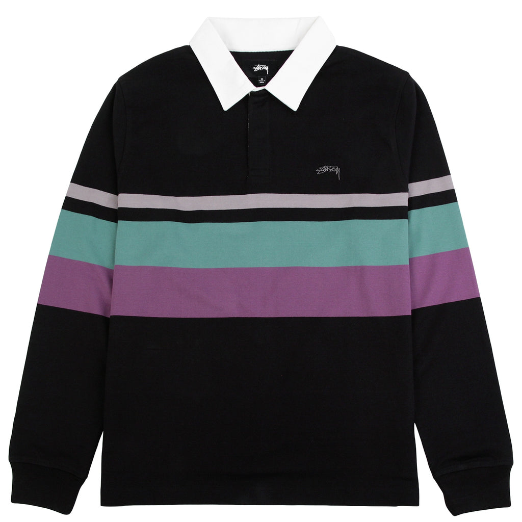 Stussy Lucas Stripe L/S Rugby Shirt in Black