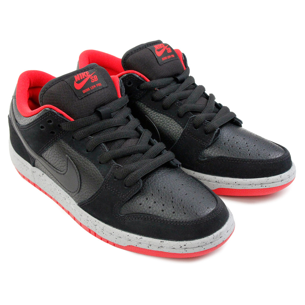 Nike SB Dunk Low Pro Shoes in Black / Black / Wolf Grey / University Red - Paired