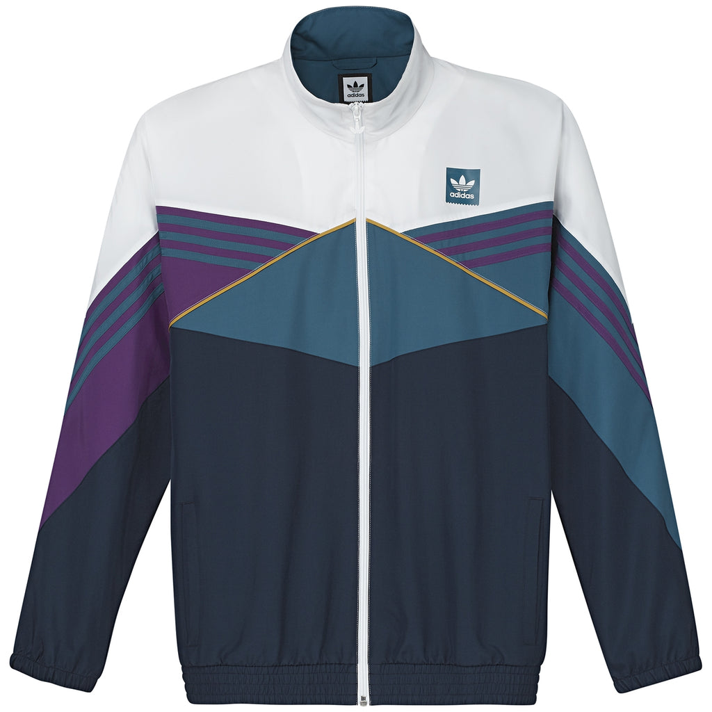 Adidas Skateboarding The Court Jacket in White / Collegiate Navy / Tribe Purple / Real Teal