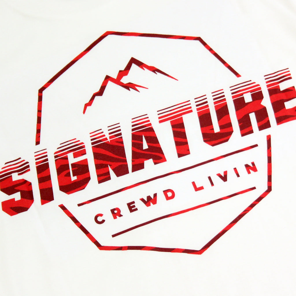Signature Clothing Jungle Mach Peak T Shirt in White / Cardinal - Back print detail