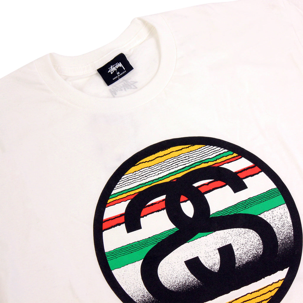 Stussy Tom Tom Link T Shirt in White - Detail