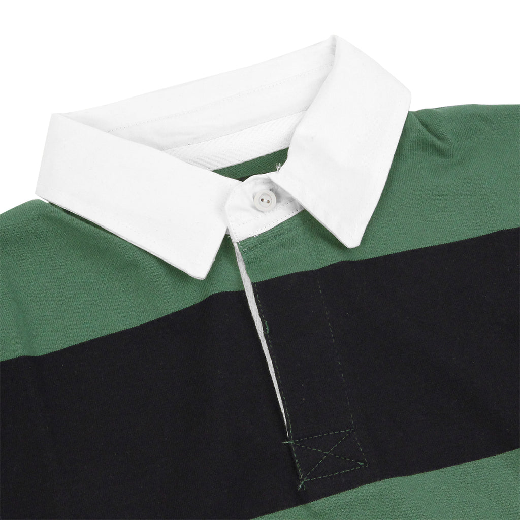 Dickies Cedar Key Rugby Shirt in Bottle Green / White - Detail