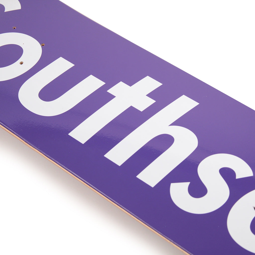 "Bored of Southsea ""Southsea"" Skateboard Deck in Purple - Detail"