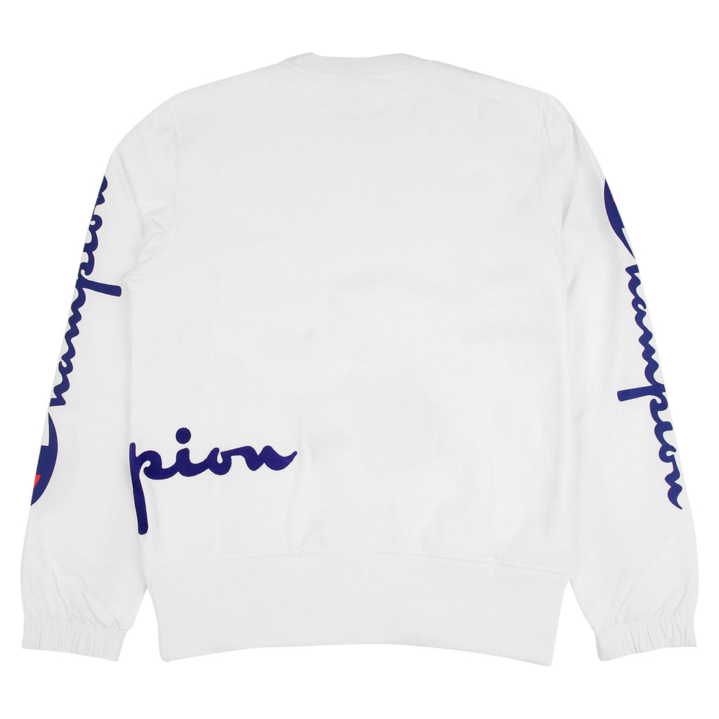 Champion Reverse Weave Training Crew Sweatshirt in White - Back