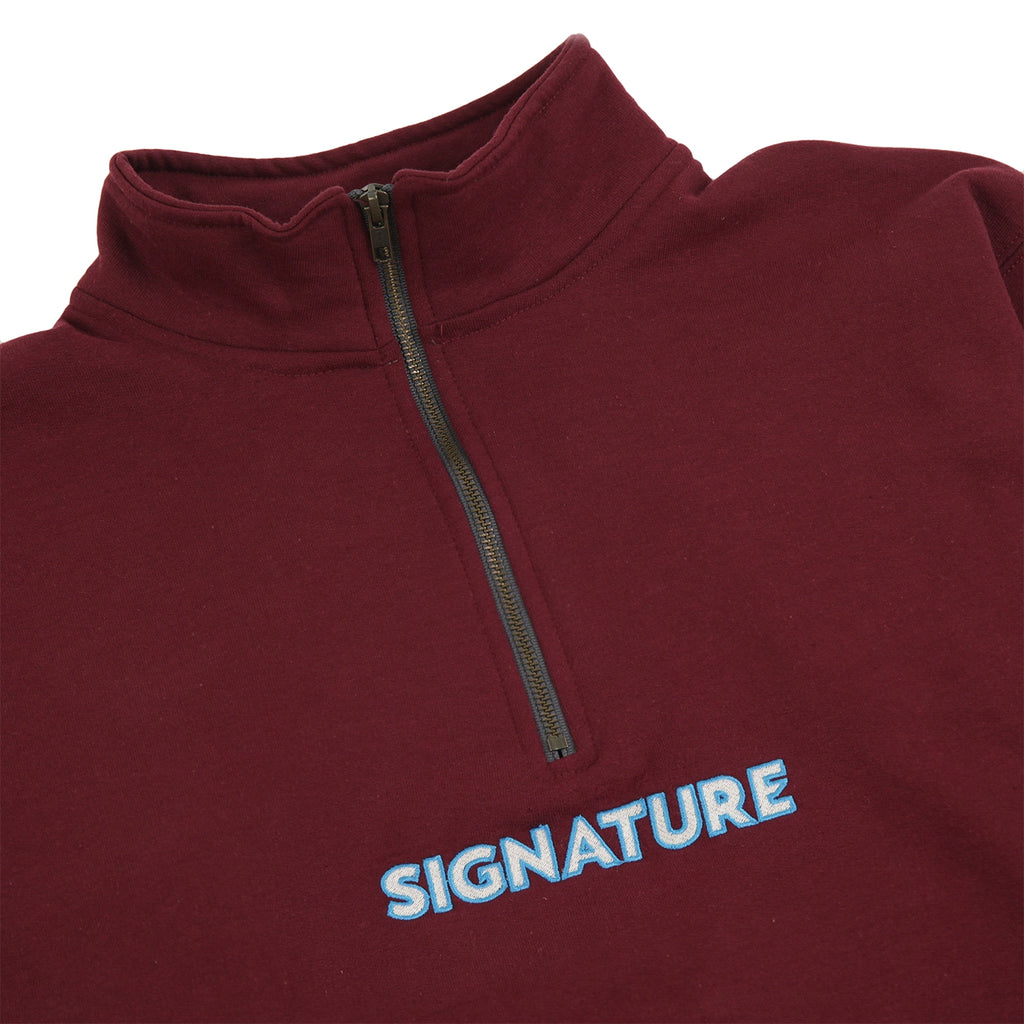 Signature Clothing Classic Logo Embroidered 1/4 Zip in Maroon - Detail