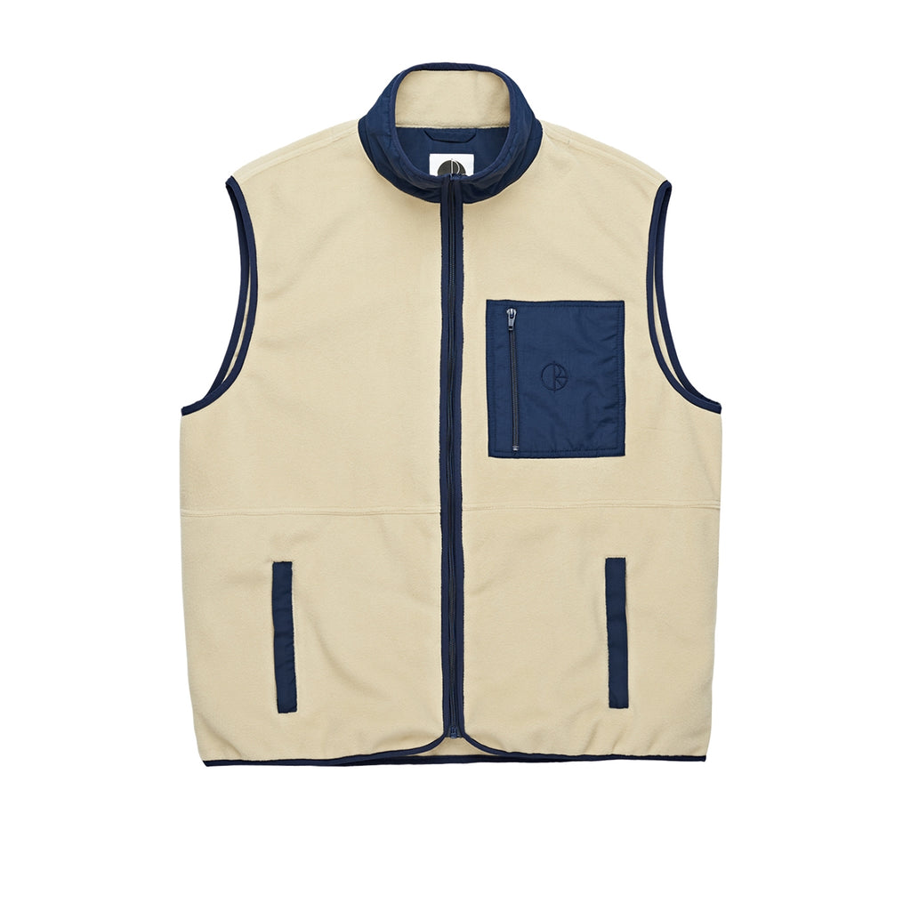 Polar Skate Co Stenstrom Fleece Vest in Sand / Navy