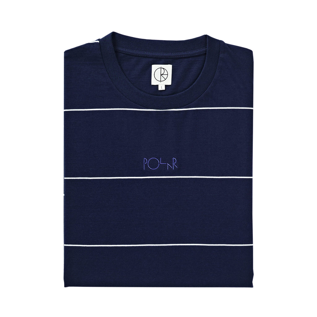 Polar Skate Co Striped T Shirt in Navy - Folded